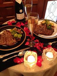 our valentine dinner table set for two candlelight and champagne at