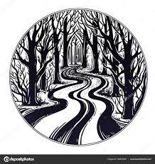 пустой дороге ночью через темный лес векторное изображение