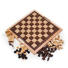 Wooden Board Games Uk Deluxe Wooden Chess Checker and Backgammon Set Brown Amazonco 48