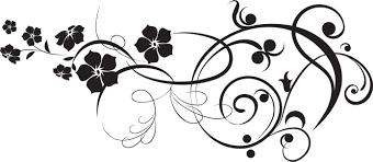 花のイラストフリー素材白黒モノクロno470白黒葉5枚葉