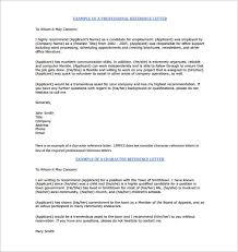 9 Samples Professional Character Reference Letter With