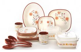 Buy Nayasa Square Printed Plastic Dinner Set 30 Pieces Brown