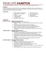 Warehouse Worker Sample Job Description Great Resume With Additional