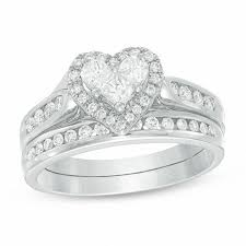 3 4 ct t w diamond heart bridal set in 14k white gold Wedding Band Sets Zales t w diamond heart bridal set in 14k white gold wedding band sets zales