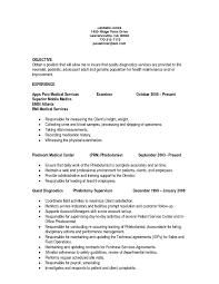 Phlebotomy Resume Examples For New Gradsist Cover Letter Technician