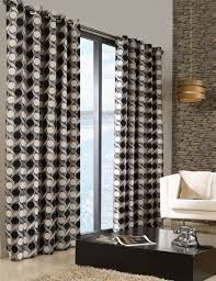 stylish trendy ringtop eyelet lined circle pattern curtains black cream colour