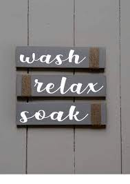 Amazon Com Rustic Bathroom Signs Wash Relax Soak Gray Horizontal White Farmhouse Wooden Signs For Bathroom Decor Primitive Wood Signs Script Set Of Three Handmade
