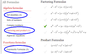 formula sheets for geometry math formulas for factoring and product formulas