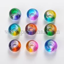 spray painted glass beads