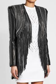 balmain embellished leather jacket with fringe black women