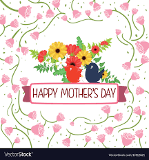 Happy Mothers Day Card Flower Birds Roses Sparce
