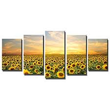 wieco art sunflowers modern 5 panels stretched and framed giclee canvas prints artwork landscape pictures on sunflower wall art canvas with amazon gardenia art flowers sea of sunflower canvas prints