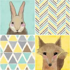 about this item on target childrens wall art with fox rabbit canvas set of 4 nursery wall art target