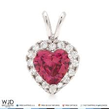 details about 14k white gold 2 20ct created diamond and ruby heart shape halo charm pendant