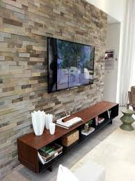 Wall Mount Tv For Living Room Stone Textured Accent Wall With Wooden Cabinet And Wall Mounted Tv