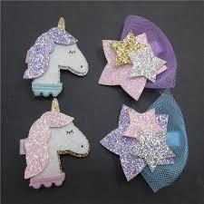 <b>1pc</b> Unicorn Party Hair Clips Purple Glitter <b>Felt Cartoon</b> Uncorn ...