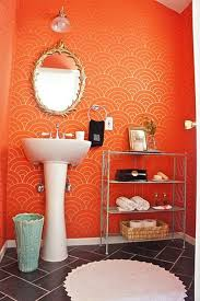 orange wall paintbeautifulorangewallpaintinmodernbathroomvanitywithwhite