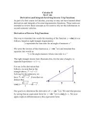 Derivatives And Integrals Involving Inverse Trig Functions