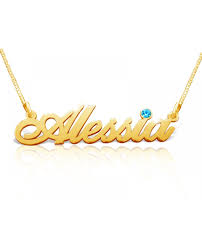 august birthstone name necklace in 14k gold