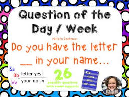 Question Of The Day Letter In Name Pocket Chart Pk 1