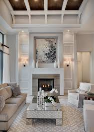 winter living room with stylish fireplace mantle white