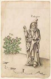 pythagoras  french manuscript from 1512 1514 showing pythagoras turning his face away from fava beans in revulsion