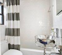 gray and white striped shower curtain. blue and white shower curtain bathroom contemporary with mosaic floor tile mirrored medicine cabinet striped gray r