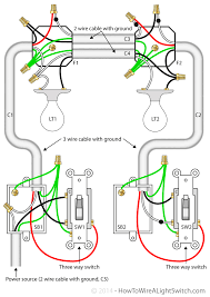 way switch how to wire a light switch two lights between 3 way switches the power feed via one of the light switches