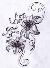 татуировки рисунки цветы и бабочки цветы на ногу лилии тату