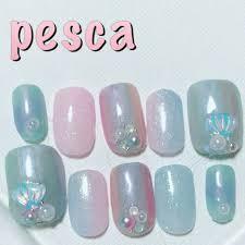 夏ピンクグリーン水色 Pescaのネイルデザインno3211373ネイル
