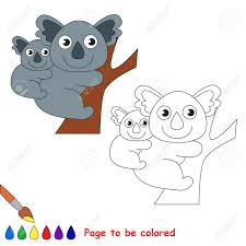 koala and her baby to be colored coloring book for children visual game