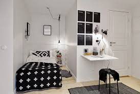 Small Bedroom Tv Contemporary Small Bedroom With Mounted Lcd Tv And Bedside Hanging