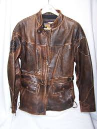 details about womens jacket harley davidson brown leather distressed jacket medium