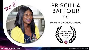 """ITN on Twitter: """"Congratulations to Priscilla Baffour (@Cilla4Talent), our  Diversity and Inclusion lead, who has been shortlisted as a BAME Workplace  Hero in @EthnicityInvest's 2018 #EthnicityAwards.… https://t.co/ykQqLlhIG6"""""""