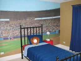 Bedroom With Baseball Themed Wall Decor