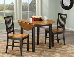small round old drop leaf kitchen table painted with brown and black for small kitchen table and 2 chairs