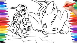 Discover free fun coloring pages inspired by how to train your dragon, 2010 animated movie by dreamworks. How To Train Your Dragon 3 The Hidden World Coloring Pages For Kids How To Draw Hiccup Toothless Youtube