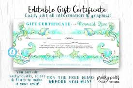 Make Voucher Enchanting Editable Gift Certificate Mermaid Love Voucher Printable Etsy