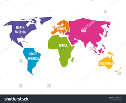 Simplified World Map Divided Six Continents Stock Vector Royalty