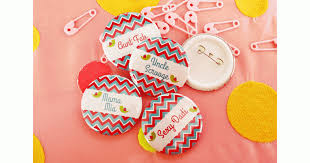personalized baby shower badges chevron