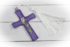 Free Standing Lace Easter Designs Easter Bloom Cross Freestanding Lace Bookmark For 4x4 Hoops