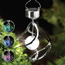 outdoor garden solar powered colour changing saturn wind spinner light hanging