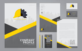 Business Profile Design Template Construction Logos In Stationery Set Media Construction