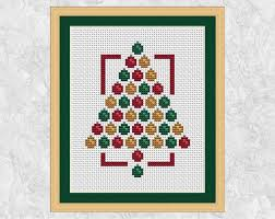 Christmas Tree Cross Stitch Chart Modern Christmas Cross Stitch Pattern Christmas Tree Cross Stitch Chart Christmas Card Xmas Seasonal Baubles Quick Easy Printable Pdf