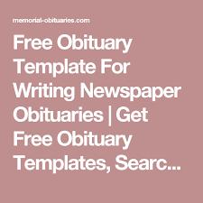 Newspaper Obituary Template Free Obituary Template For Writing Newspaper Obituaries Get Free
