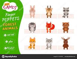 Set Finger Puppets Children Cut Glue Play Forest Animals