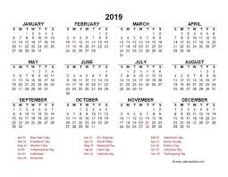 Free Excell Calendar 2019 Yearly Calendar Template Excel Free Printable Templates