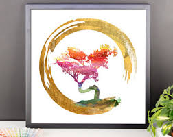 enso circle bonsai tree feng shui calligraphy symbol asian art spiritual gifts japanese chinese watercolor art framed poster wall decoration on asian calligraphy wall art with enso circle calligraphy bonsai tree asian art spiritual