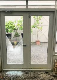 here is one of two broken double doors each door is fitted with a double paned tempered and insulated glass unit only one