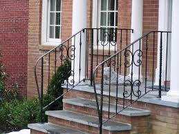 Stairs, Outdoor Stair Railing Hand Railings For Steps Brick Staircase With  Concrete Steps Curved Black